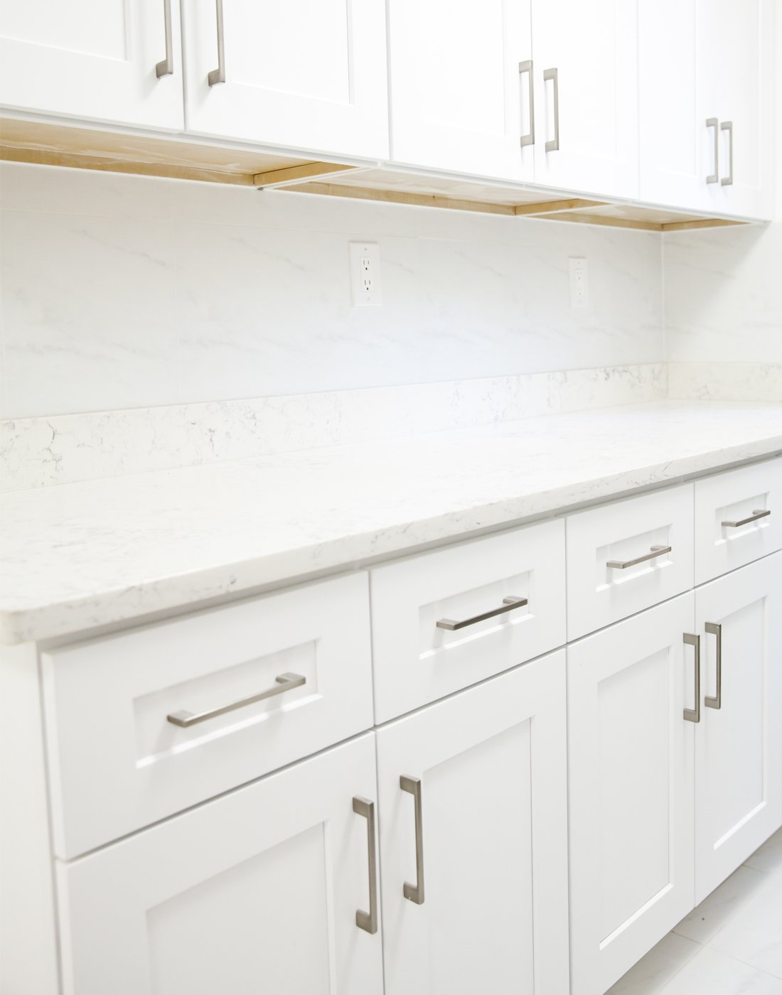 Newely refinished cabinets in a kitchen
